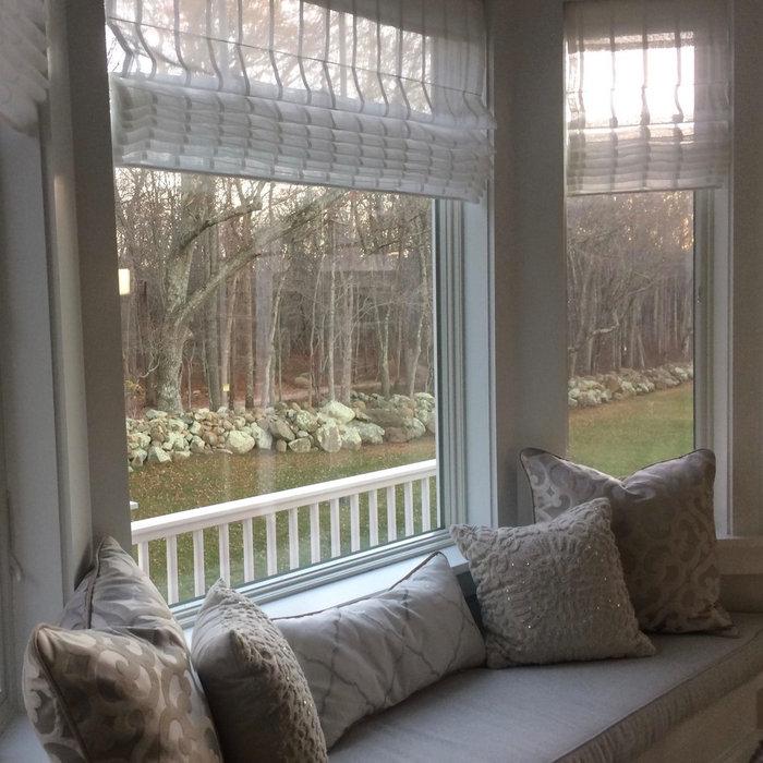 Bay Window with Sheer Roman Shades