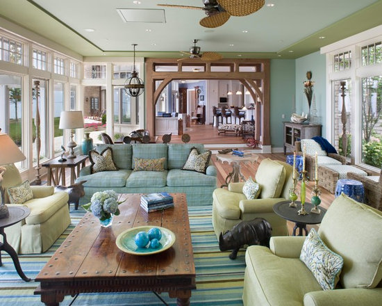 Blue Brown And Green Living Room Home Design Ideas
