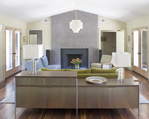 Trendy Living Room Photo In San Francisco With A Standard Fireplace And A  Brick Fireplace Surround Part 59