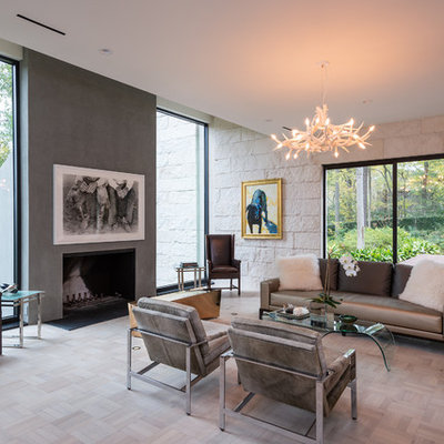 Inspiration for a contemporary formal living room remodel in Houston with a standard fireplace
