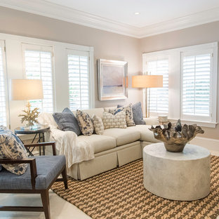 Living room - transitional living room idea in Miami with beige walls