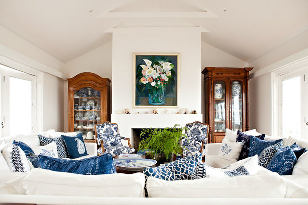 American Traditional Living Room by Black & Spiro Interior Design