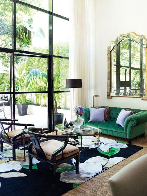 Green living room design ideas renovations photos with for Green carpet living room ideas
