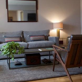 Idee per un piccolo soggiorno design aperto con pareti grigie, parquet chiaro e TV a parete