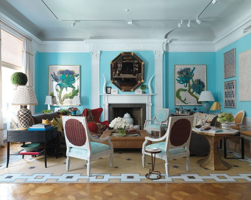 Inspiration For A Contemporary Living Room Remodel In New York With Blue  Walls And A Standard