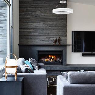 メルボルンの広いトランジショナルスタイルのおしゃれなLDK (白い壁、コーナー設置型暖炉、石材の暖炉まわり、壁掛け型テレビ、無垢フローリング) の写真