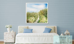 Beach Cottage Living Room with Impressionist Artwork