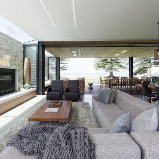 Immagine di un soggiorno contemporaneo di medie dimensioni e aperto con pareti grigie, pavimento in cemento, camino classico, cornice del camino in cemento, parete attrezzata e pavimento grigio