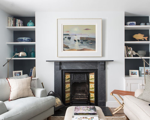 This Is An Example Of A Beach Style Living Room In London With A Reading  Nook Part 76