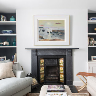 Coastal Living Room In London With White Walls, Medium Hardwood Flooring  And A Standard Fireplace