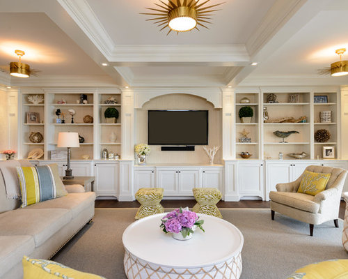Inspiration For A Large Beach Style Enclosed Living Room Remodel In New York