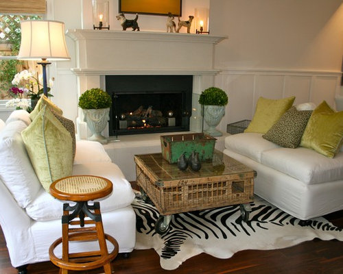 Example Of A Coastal Dark Wood Floor Living Room Design In Los Angeles With  White Walls Part 25