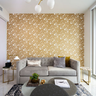 Example of a trendy white floor living room design in Miami