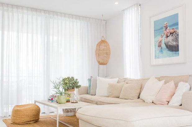 Beach Style Living Room Beach Style Living Room. Coastal Interiors Blur The  Line Between ...