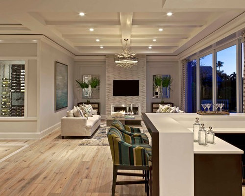 Coastal Open Concept Light Wood Floor Living Room Photo In Miami With Beige  Walls, A
