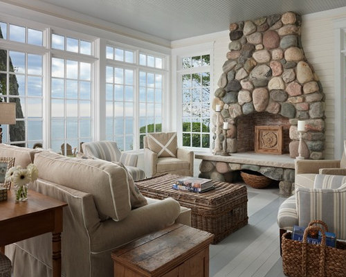Mid Sized Coastal Enclosed Painted Wood Floor Living Room Photo In Other  With White Walls