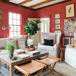 Mid-sized coastal enclosed living room photo in Boston with red walls