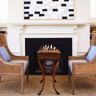 Exceptionnel Coastal Living Room Photo In San Francisco With White Walls And A Standard  Fireplace