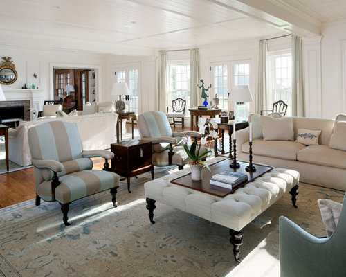 Coastal Open Concept Medium Tone Wood Floor Living Room Photo In Boston With White Walls