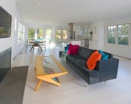 Coastal Open Concept Living Room Photo In New York With White Walls, A  Standard Fireplace