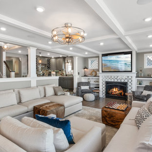 Inspiration for a coastal living room remodel in Milwaukee