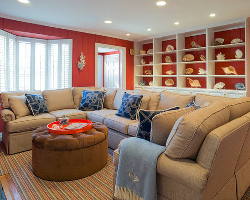 Mid sized beach style living room design ideas remodels for Medium sized living room