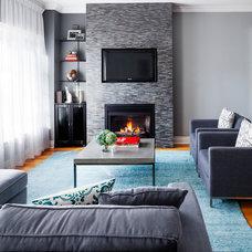 Transitional Living Room by Rad Design Inc