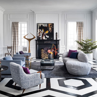 Transitional formal and enclosed painted wood floor and multicolored floor living room photo in New York with gray walls, a standard fireplace and a wood fireplace surround