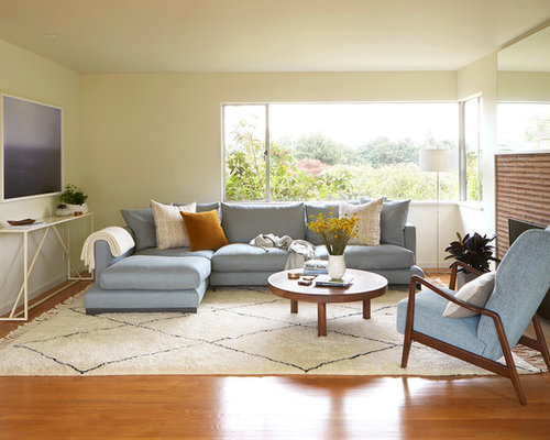 Inspiration for a 1950s medium tone wood floor and orange floor living room remodel in Seattle : coffee table for sectional - Sectionals, Sofas & Couches