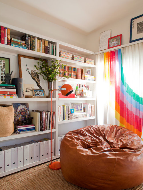 Eclectic Living Room Library Photo With White Walls. Save Photo. Bean Bag  Chair Part 27