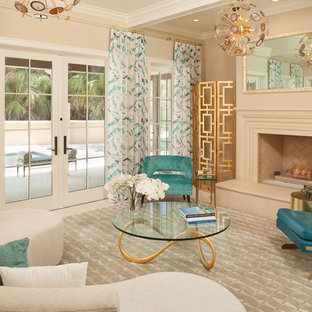 Living room - mid-sized transitional formal beige floor living room idea in Miami with beige walls, a standard fireplace and no tv