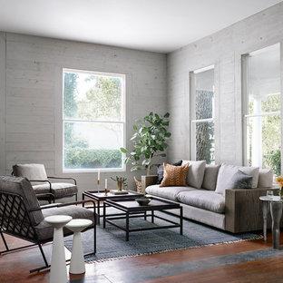 オースティンのラスティックスタイルのおしゃれなリビング (グレーの壁、テレビなし) の写真