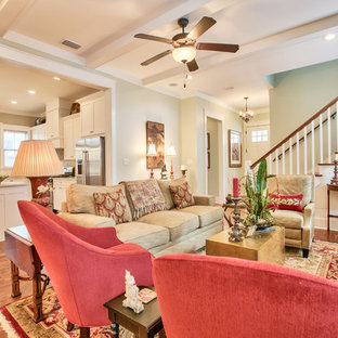 Photo of a large arts and crafts open concept living room in Atlanta with dark hardwood floors.