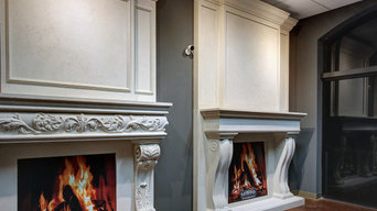 Beautiful mantels with overmantels displayed in our Orlando Showroom Orlando Sho