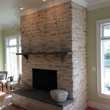 Beautiful Modern / Contemporary Stone Fireplace