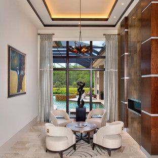 Modelo de salón para visitas contemporáneo con paredes blancas y chimenea lineal