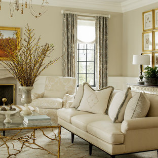 Living room - traditional formal living room idea in New York with beige walls and a standard fireplace