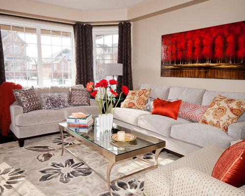 Trendy Living Room Photo In Toronto With Beige Walls