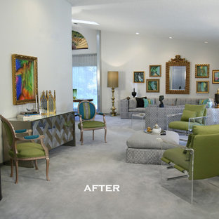 Example of a trendy living room design in Detroit