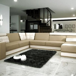 Beige and Brown Leather Sectional Sofa Modern Design - Features: