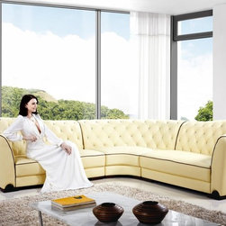 Beige Tufted Leather Sectional Sofa - Features: