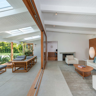 Design ideas for a large midcentury formal open concept living room in Los Angeles with concrete floors, white walls, a standard fireplace, a plaster fireplace surround, no tv and grey floor.