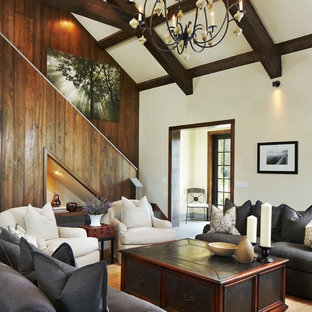 Inspiration for a mid-sized rustic open concept concrete floor living room remodel in Other