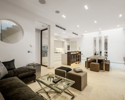 brown sectional living room. Example of a trendy open concept living room design in London Dark Brown Sectional  Houzz