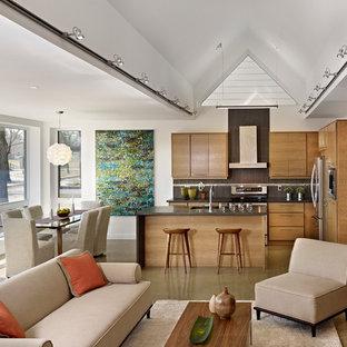 Foto di un soggiorno minimal di medie dimensioni e aperto con pareti bianche, stufa a legna, sala formale, pavimento in cemento e pavimento beige