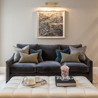 Photo of a contemporary living room in London with beige walls and light hardwood flooring.
