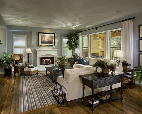 Living Room   Large Traditional Formal And Open Concept Dark Wood Floor And  Multicolored Floor Living
