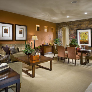 Mid-sized trendy formal and open concept ceramic floor and beige floor living room photo in Las Vegas with orange walls