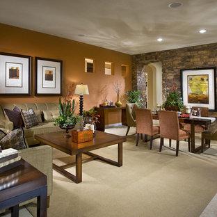 ラスベガスの中サイズのコンテンポラリースタイルのおしゃれなLDK (フォーマル、オレンジの壁、セラミックタイルの床、暖炉なし、ベージュの床) の写真