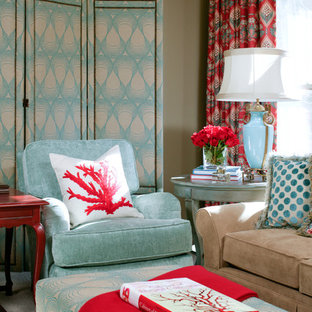 Etonnant Turquoise And Red Livingroom | Houzz